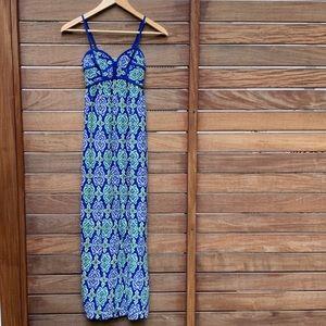 Blue and Green Maxi Dress: EUC